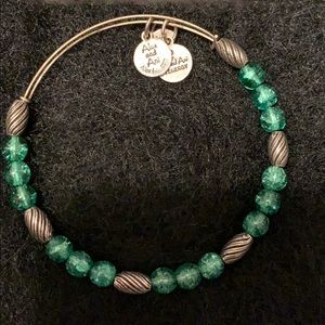 Alex and Ani silver and Green bead Bracelet